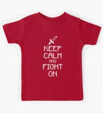 Keep calm and fight on (white) Kids Clothes