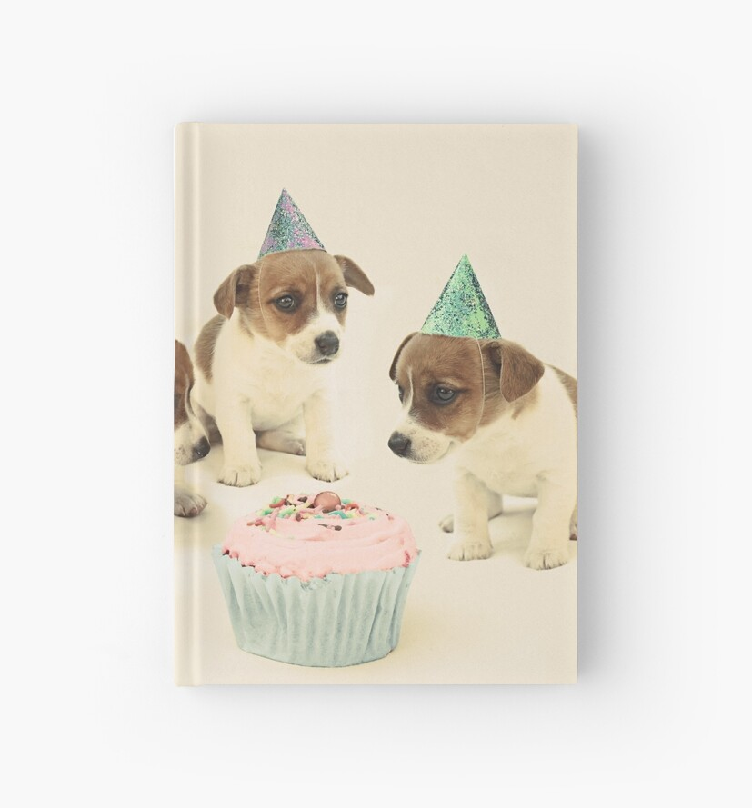 Vintage Puppy Birthday Card Hardcover Journals By Micklyn Redbubble