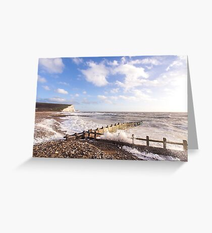 Powerful waves at Cuckmere Haven, East Sussex, UK Greeting Card