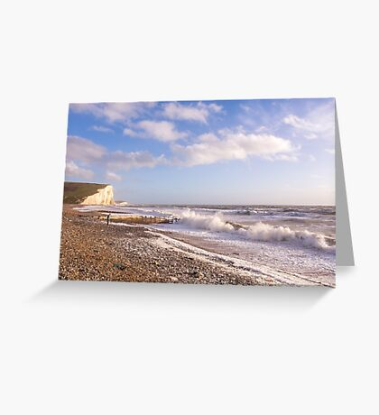 Watching the waves at Cuckmere Haven, East Sussex, UK Greeting Card