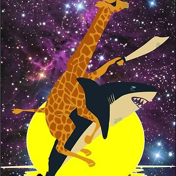 giraffe riding a shark on the moon by quickart