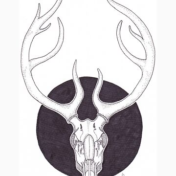 Dotwork Deer Skull by accio-muse