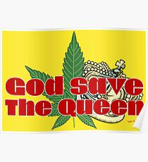 God Save The Queen - Weed Clothing and Gifts Design Poster