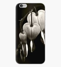 Bleeding Hearts (Dicentra) flowers in black and white iPhone Case