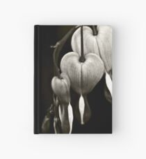 Bleeding Hearts (Dicentra) flowers in black and white Hardcover Journal