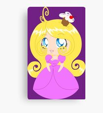 Blond Cupcake Princess In Pink Dress Canvas Print