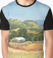 Country Scene White Barn At The Farm Graphic T-Shirt
