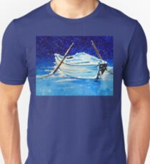 Forgotten Row Rowboat Boat Oar Wooden River Old Wood Lake Ocean Sea Fishing Snowing Frozen Ice  Unisex T-Shirt
