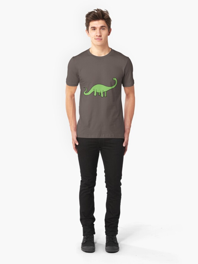Alternate view of Happy Diplodocus - dinosaur design by Cecca Designs Slim Fit T-Shirt