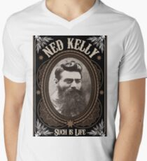 Ned Kelly - Such is Life Design in brown Men's V-Neck T-Shirt