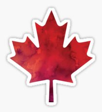 Canada Day Watercolour Maple Leaf Pattern Sticker