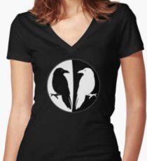 Huginn and Muninn Publishing Logo - Odin's Ravens Women's Fitted V-Neck T-Shirt