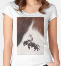 Cowboy Rodeo Bull Riding Cowhide Women's Fitted Scoop T-Shirt