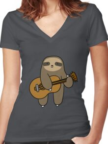 Guitar Sloth Women's Fitted V-Neck T-Shirt