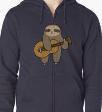 Gitarren-Faultier Hoodie mit Reißverschluss