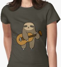Guitar Sloth Womens Fitted T-Shirt