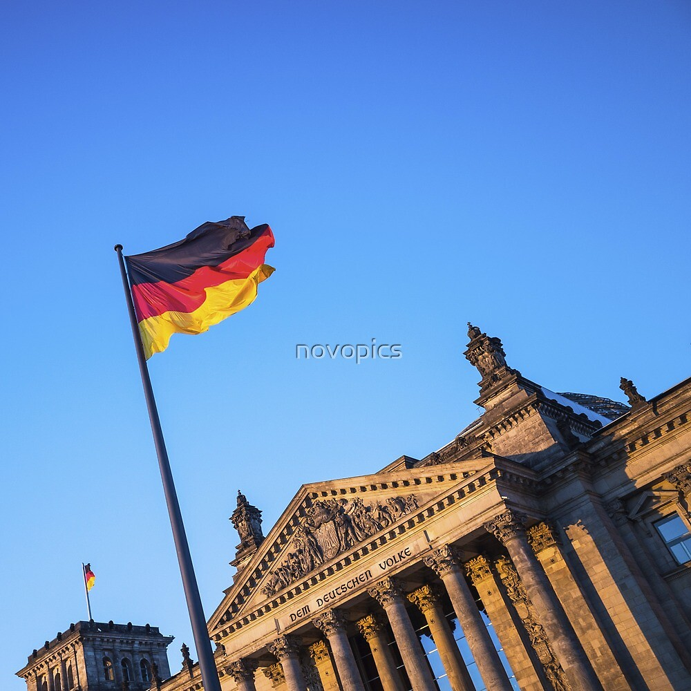 Schland Flag in front of the Reichstag building by novopics