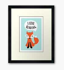 I love reading, cute cartoon fox on blue background Framed Print