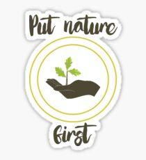 'Put nature first' Illustration Print Sticker