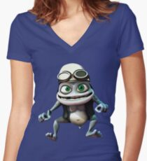 Crazy frog Women's Fitted V-Neck T-Shirt