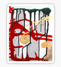 Abstract Primeval - Red Green White and Gold Sticker