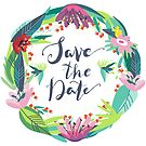 Save The Date Colorful Floral Wreath by artonwear