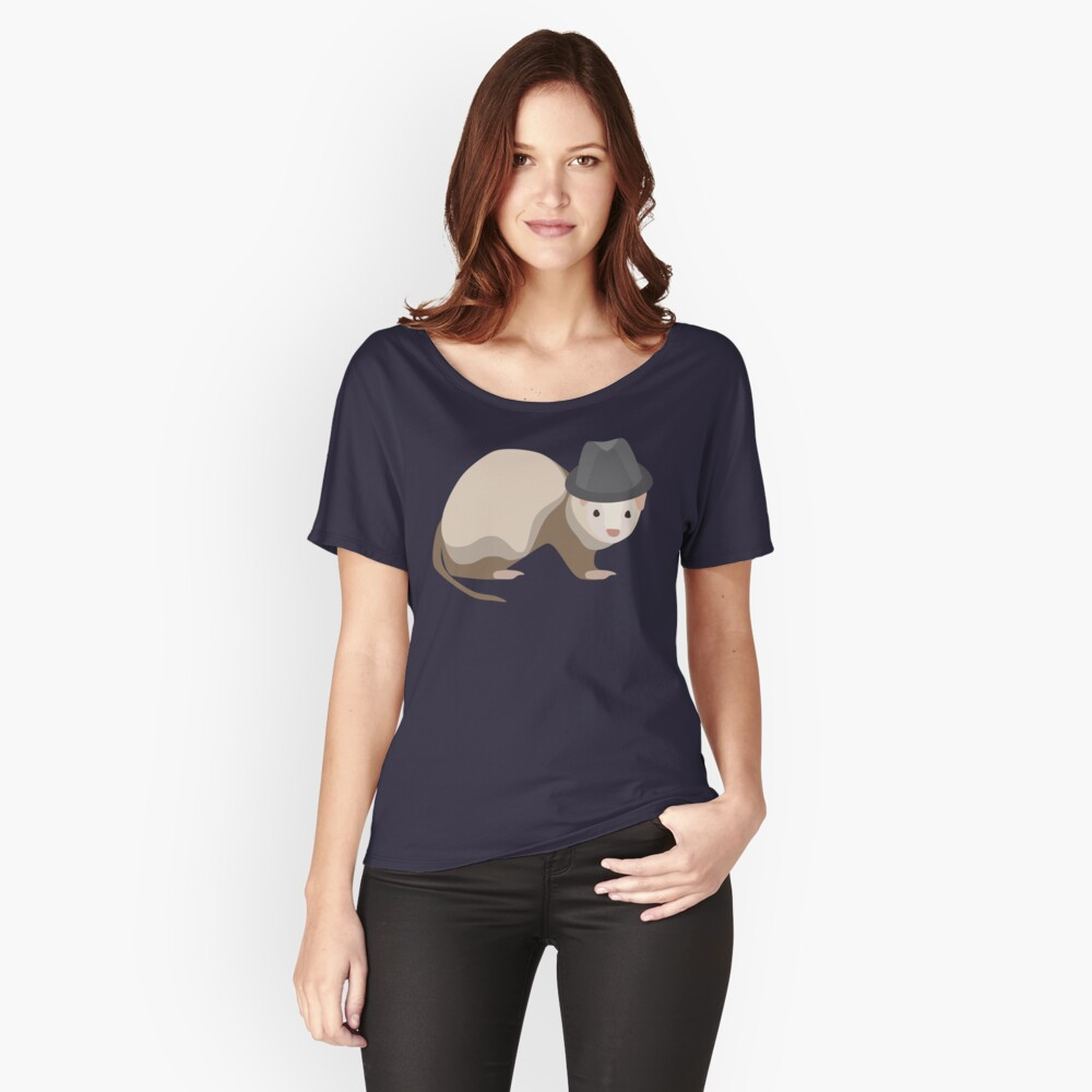 NDVH Ferret Wearing a Trilby Relaxed Fit T-Shirt