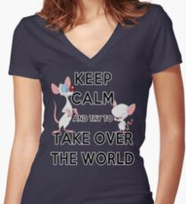 Keep Calm and Try to Take Over the World Women's Fitted V-Neck T-Shirt