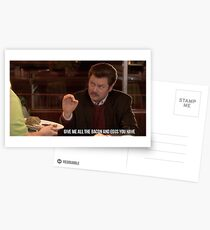 Ron Swanson--Give Me all the Bacon and Eggs You Have Postcards