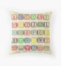 Vintage Alphabet Throw Pillow