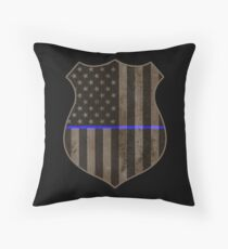 Thin Blue Line American Flag Police Badge Throw Pillow