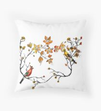 japanese flowers and birds Throw Pillow