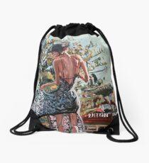 Woman in Summer Dress Drawstring Bag