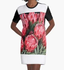Pink Proteas Graphic T-Shirt Dress