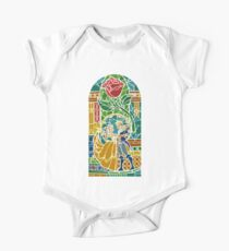 Beauty and The Beast - Stained Glass Short Sleeve Baby One-Piece