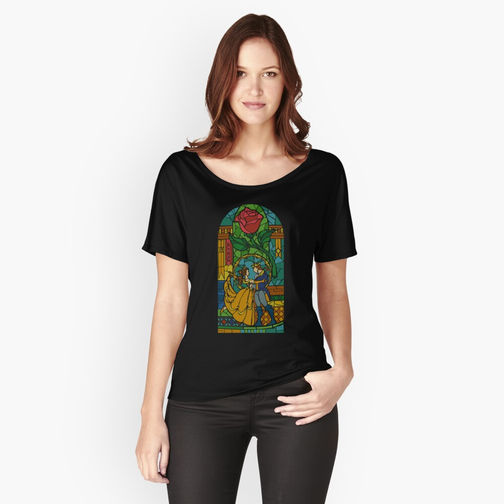 Beauty and The Beast - Stained Glass Women's Relaxed Fit T-Shirt Front