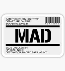 Madrid Spain airport destination stamp Sticker