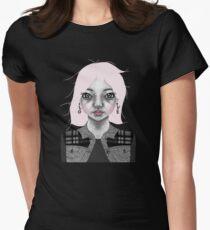 004 Long Pink Bob & L.O.V.E. Earrings Womens Fitted T-Shirt