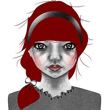 005 Red Hair & a Pretty Grey Bow by inkioh