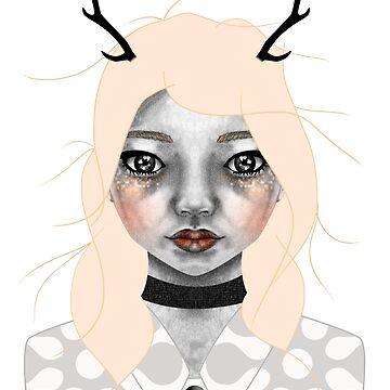 008 Golden Hair & Black Antlers by inkioh