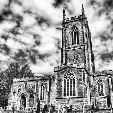 Orlingbury church (black and white) by InspiraImage