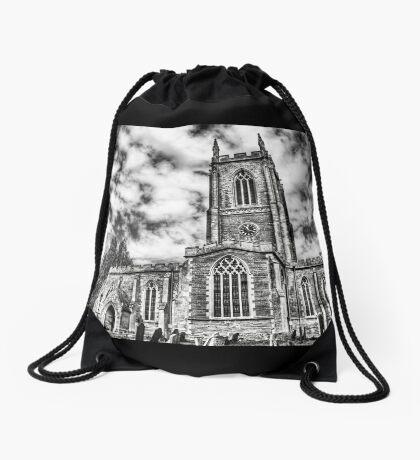 Orlingbury church (black and white) Drawstring Bag