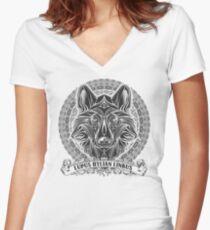 Legend of Zelda Twilight Princess Wolf Link Line Artly  Women's Fitted V-Neck T-Shirt