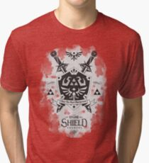 Legend of Zelda Hylian Shield Geek Line Artly  Tri-blend T-Shirt