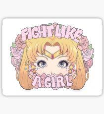 fight like a girl//Sticker//Sailor Moon Sticker
