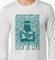 Ned Kelly Aussie Outlaw in Teal Long Sleeve T-Shirt