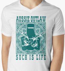 Ned Kelly Aussie Outlaw in blue green Men's V-Neck T-Shirt