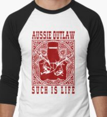Ned Kelly Aussie Outlaw in red Men's Baseball ¾ T-Shirt