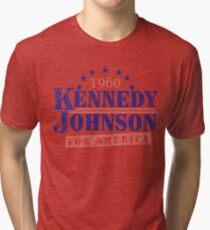 Vintage Kennedy Johnson 1960 Presidential Campaign Tri-blend T-Shirt