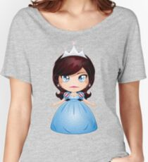Princess With Black Hair In Blue Dress Women's Relaxed Fit T-Shirt